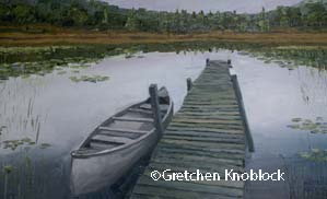 Cottage dock view painting