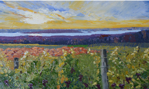 a painting of grape vines at the lookout on center road ner chateau grant traverse