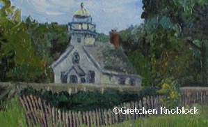 old mission lighthouse painting