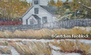 winter old mission peninsula painting