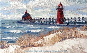 big red lighthouse painting
